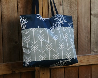 Coral on Navy- Arrows on Grey-Beach Tote- Overnight Bag- 6- Outer Pockets Water and Mildew Resistant Interior