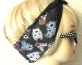 Pitbull Hair Tie Sugar Skull Style & Star Print Rockabilly by Dolly Cool. Rare and exclusive self designed fabric
