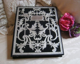 Vintage black velveteen silvertone scroll design picture album, 140 picture album storage, wedding photo album, baby pictures, photo album