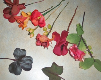 Vintage Millinery Flowers and Leaves 1940-1950's hat making supplies Rust Berry