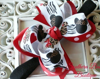 New Item----MINI Boutique Double Layered Hair Bow Headband---Wild Mouse Safari---Black and Red----