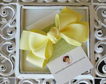 NEW ITEM------Boutique Double Medium Hair Bow Clip-----Lemon Yellow