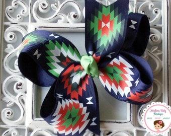NEW----Boutique Large Hair Bow Clip or Headband----Navy Santa fe Bow