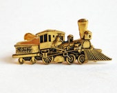 Vintage C&NW Pioneer Steam Train Goldtone Tie Clip - Chicago and North Western Railway - Steam Locomotive Tie Clasp - Railroad Men's Jewelry
