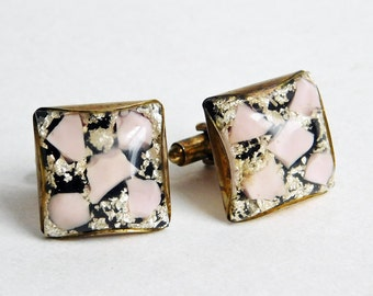 Vintage Confetti Lucite Cufflinks in Pink, Black & Silver - Mid-Century Modern Bullet Backs - Large Domed Squares - Modernist 1950s-60s