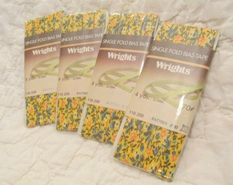 Vintage Single Fold Bias Tape  Wrights Floral 4 pkgs of 4 yards each more available