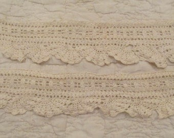 "Vintage Crocheted Lace 28"" x 2 1/4"" not perfect"