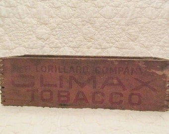 Vintage Tobacco Wood Box lots of writing and Dovetail corners