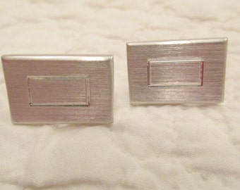 Vintage Cuff links silver tone metal SALE