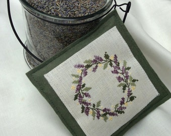 Lavender Sachet /Hand Stitched Lavender Wreath on Linen/ Organic Home Fragrance