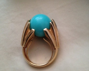 avon CLAW deco style vintage ring marbles goldtone ring adjustable