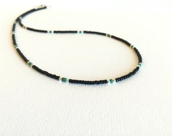 Necklace - Black Glass Seed Beads - Turquoise Heishi Beads - Sterling Silver