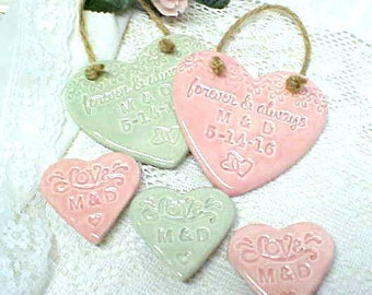 Personalized Wedding Favors - Heart Shape - Porcelain Plaques or Pottery Magnets -- Color Choice - Celadon or Pink Tea Rose - Made to Order