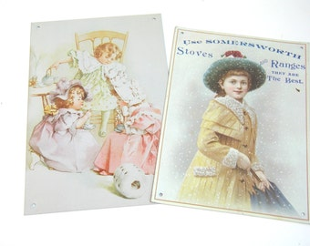 Vintage Tin Signs, Victorian Children, Reproduction Tin Pictures