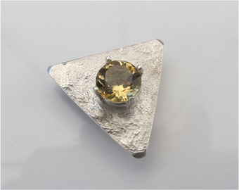 Yellow Citrine Pin OR Pendant: Facted Stone on Textured Sterling