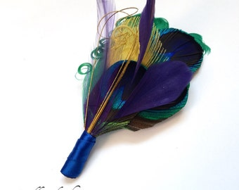 Ready to Ship - Mardi Gras Peacock Feather Boutonniere in Blue, Purple, Gold and Green for Mardis Gras