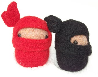 Ninja plush toy, hand knit felted wool ninja doll, ninja stuffed toy, red ninja, custom color ninja, amigurumi ninja, made to order