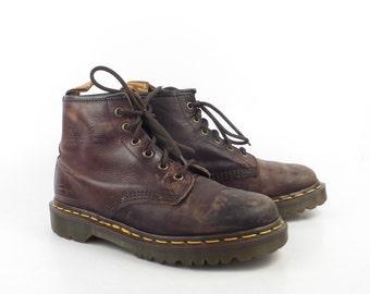 Doc Martens Boots Vintage 1990s Brown Dr 6 eyelet uk size 5 Men's us size 6 Women's US 7