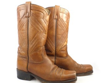 Campus Leather Boots Vintage 1970s Carmel brown Cowboy Acme Men's size 8 1/2