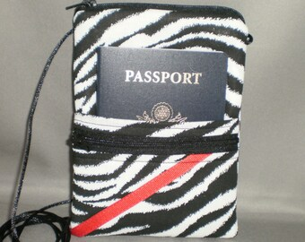 Passport Purse Wallet - Zebra - Sling Bag - Wallet on a String - Black and White, Red
