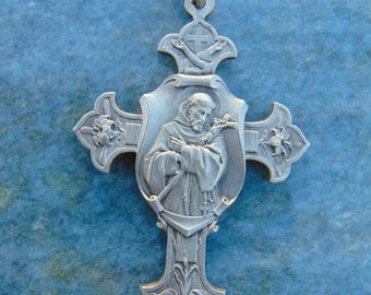 Antique French Vintage Antique St. Francis of Assisi Catholic Cross Crucifix Medal Religious Christian Pendant Perfect for Rosary