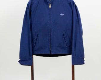 60s Blue Izod Cotton Zipper Front Jacket Mens Vintage Blue Jacket