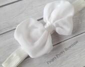 """4"""" White Chiffon Bow Baby Headband-Toddler Headband"""