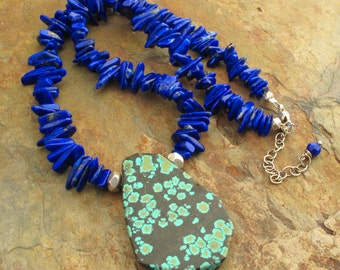 Lapis Turquoise Sterling Silver Necklace - Rio Grande