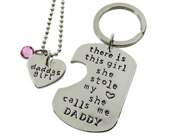 Daddy's Girl Matching Heart Necklace and Dog Tag Keychain - This girl she stole my heart she calls me daddy