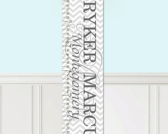 Kids Canvas GROWTH CHART Grey Chevron Monogram Kids Bedroom Baby Nursery Wall Art Growth Chart GC0288
