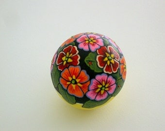 Unique ooak 3D art object for home office-painted pet rocks-summer gift idea-primrose-cottage decor-floral display-best friend birthday