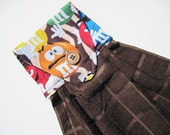 Button top towel  M andMs Candy  brown towel