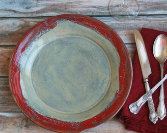 Two Extra Large Dinner Plates Pair of Handmade Ceramic Dishes in Rustic Sage Green and Red Glazes Stoneware Dinnerware Made in USA