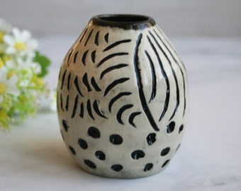 Small Black and White Tribal Carved Vase Wheel Thrown Pottery Made in USA Ready to Ship