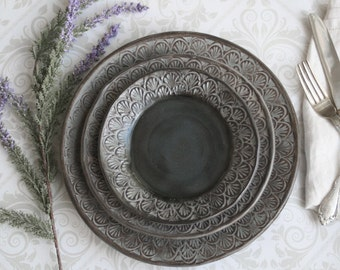 Modern Rustic Dinnerware Place Setting Handmade Ceramic Stoneware Black Gray Three Piece Rustic Dinner Plate Set Made in USA Ready to ship