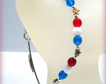Patriotic Star Red White Blue Glass Beaded Medical ID Bracelet