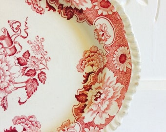 Antique Ironstone England Red Transferware Platter