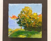 FOREST TREE PAINTING,  original oil painting,  tiny painting for room decor,  gift idea for valentine's day for nature lovers