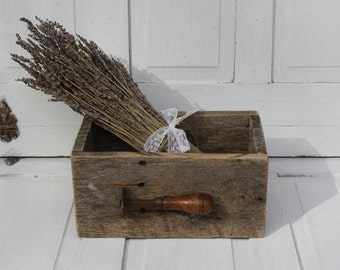 Raw and Rustic Vintage Warehouse Style Storage Box- Primitive Tool- Mantique Wood Box