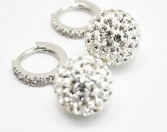 Clear White Earrings, Pave Earrings, Rhinestone Swarovski Crystal, Sterling Silver, Cubic Zirconia Hoop Earrings, Bridal Bridesmaids Jewelry