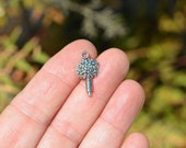 10  Silver Tone  Flower Charms SC2013