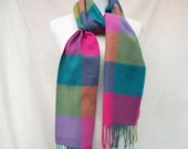 50% Off Sale Colorful Cashmere Scarf Scotland Pure Cashmere Fringed Scarf