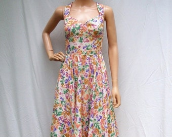 SALE 80s Cotton Sundress size Small to Medium Floral 50s Style Pinup Bombshell