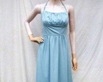 SALE 70s Halter Maxi Dress size Small Mikey Jrs.  Slate Blue Maxi Bare Back Dress