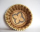 Vintage South Pacific Micronesia Hand Woven Cowrie Shell Basket
