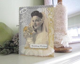 Handmade Wedding Card - Wedding Bridal Card - Vintage Bride Card