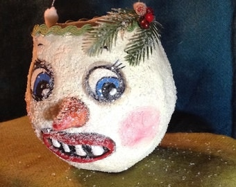 Christmas paper mache snowman bucket head ornament candy container ornament folk art face with twinklets