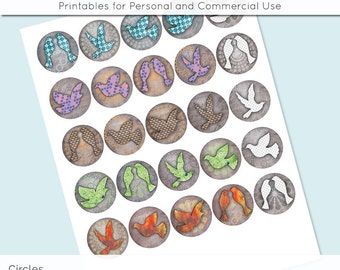"Birds 1 inch 1.25"" and 1.5"" Circles Digital Collage Sheet for Glass and Resin Pendants Bottle Caps Digital Download JPG"