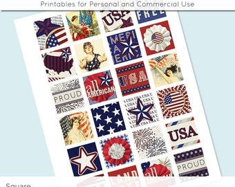 USA Patriotic 4th of July Flag Digital Collage Sheet 1x1 Inch and 1.5 Inch Squares for Glass Resin Pendants Charms JPG Q0064 S0064
