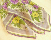 "Vintage silk crepe scarf, 35"" square, large, floral, purple, violet, lavender, yellow, green,  50's, 60's."